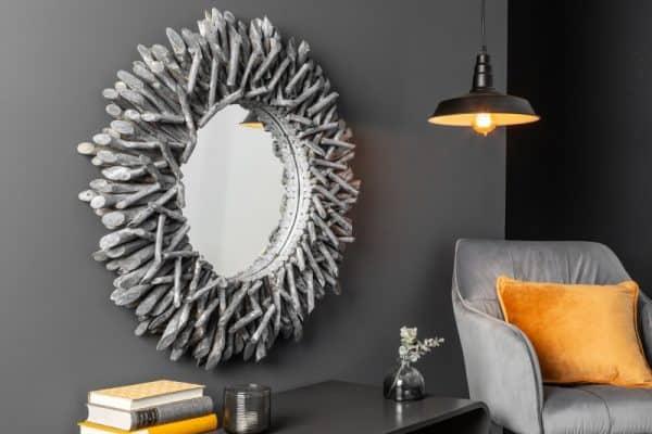 Nástenné sivé zrkadlo Riverside 80cm – naplavené drevo »