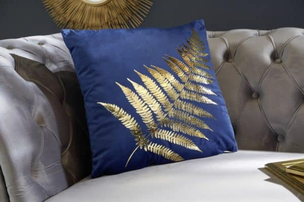 zamatkissen zlatáenes Farnblatt dunkelblau