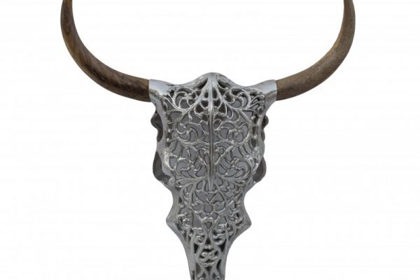 Deko Lebka Exotic Bull 57cm strieborná Mango