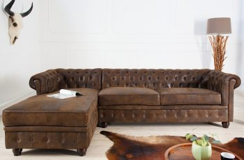 Ecksofa Chesterfield antik hnedá OT links