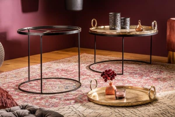 Konferenčný stolík Elements Oriental set 2ks zlatá