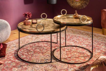 Set zlatých konferenčných stolíkov Elements Oriental 2ks