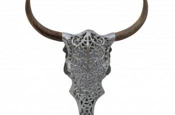 Strieborná dekoratívna lebka Exotic Bull 57cm