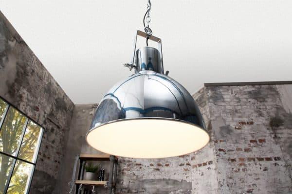 Chrómovo-biela závesná lampa Factory II Ø 30 cm »