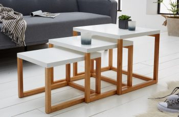 Konferenčný stolík Fusion set 3ks biela dub