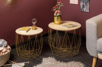 Konferenčný stolík Storage set 2ks zlatá