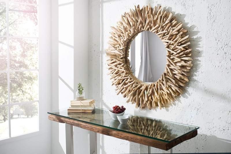 Nástenné zrkadlo znaplaveného dreva v štýle Wabi-Sabi