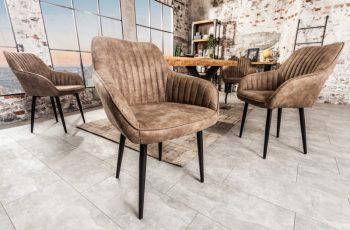 Stolička Turin Armlehne taupe sivá