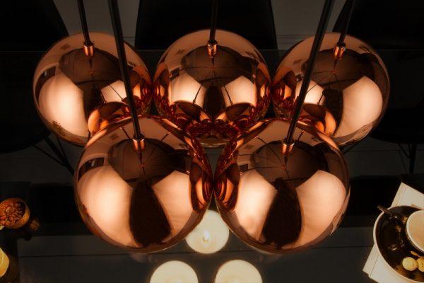 Závesná lampa Perlotta 5er rosezlatá