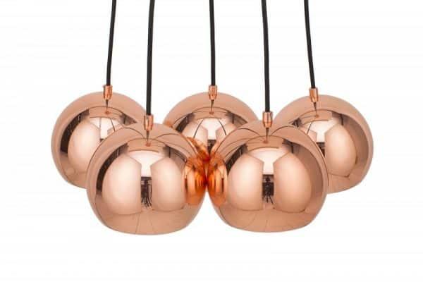 Ružovozlatá závesná lampa Perlotta 5ks »