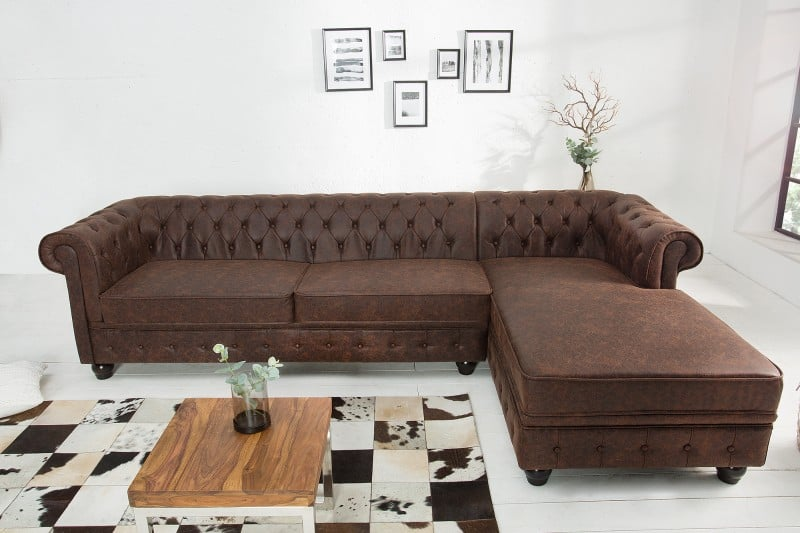 Chesterfield kožená sedačka v industriálnom štýle