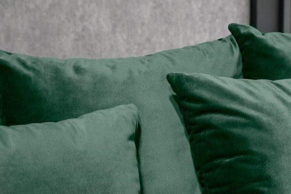 Ecksofa Loft 220cm smaragdzelená zamat Taburet