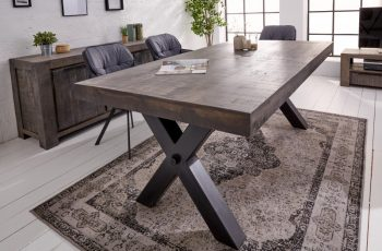 Jedálenský stôl Iron Craft X 200cm sivá Mango