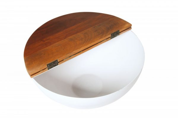 Konferenčný stolík Jakarta 70cm biela recyklované drevo