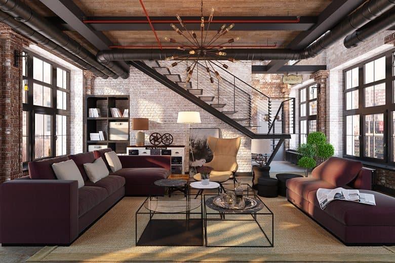 Obývačka v mezonetovom byte v industriálnom štýle
