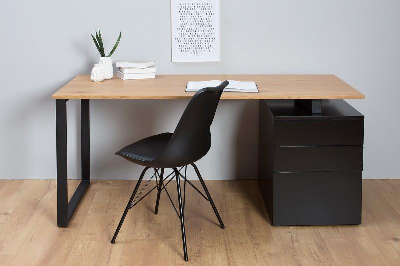 Písací stôl z prírodného dubového dreva a kovovej konštrukcie v industriálnom štýle vhodný na doma