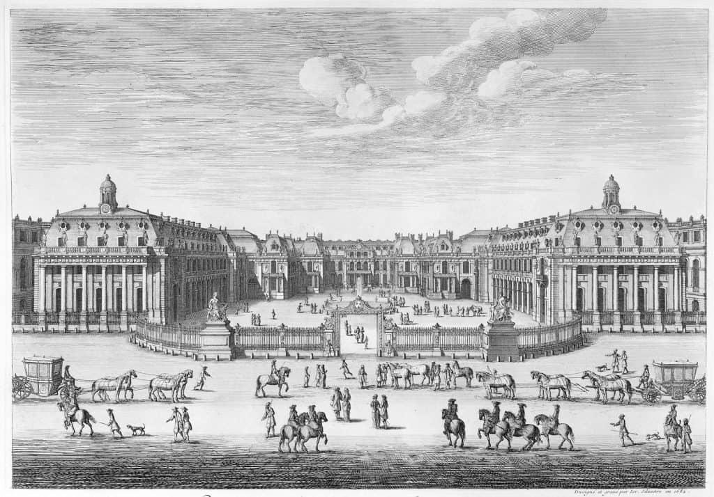 Palác vo Versailles na gravírovaní Israela Silvestreho z roku 1682,
