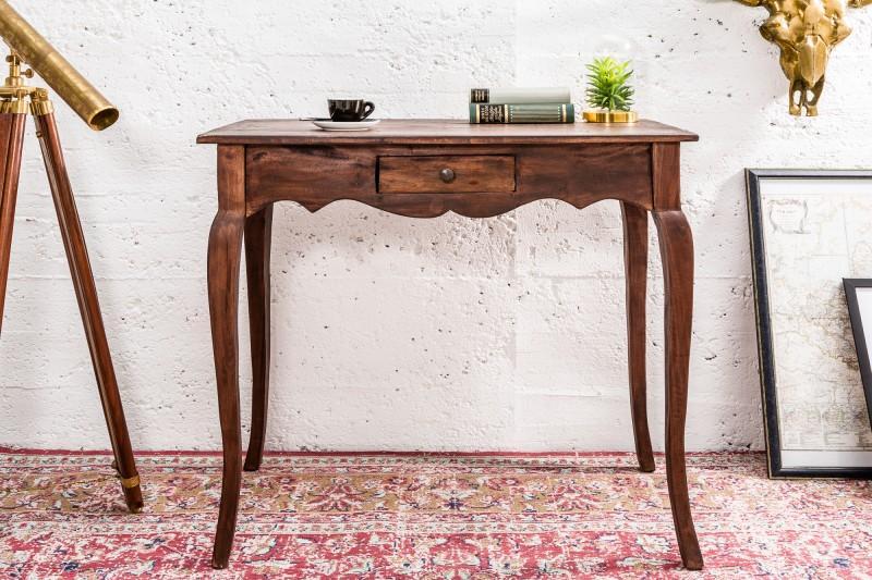Ručne opracovaný písací stôl z mahagónového dreva so starožitným nádychom
