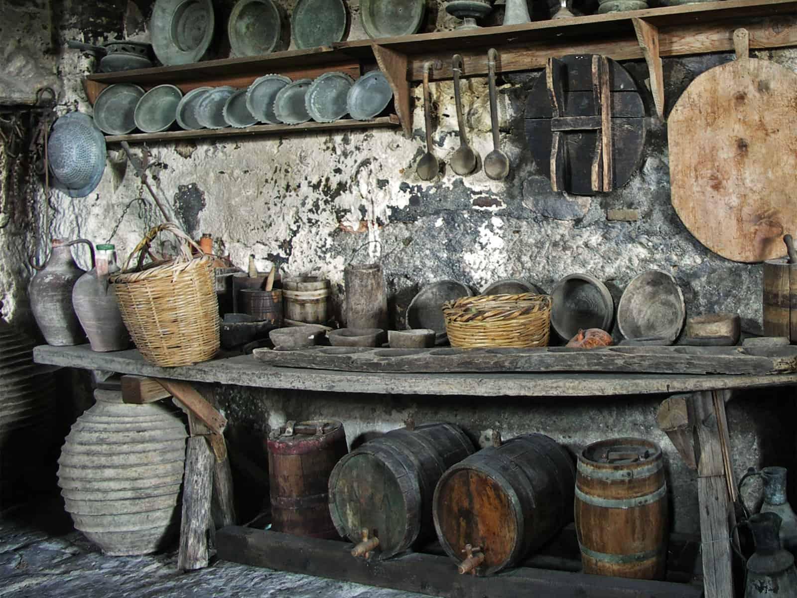 Starodávne kuchyňe v kláštore v Meteore, Grécko