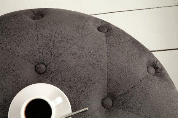 Taburet Chesterfield 60cm antik sivá rund