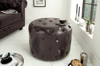 Taburet Chesterfield 60cm dark coffee rund