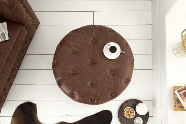 Hnedý vintage taburet Chesterfield 60cm