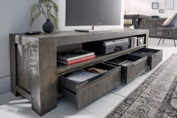 Sivý TV stolík Iron Craft 170cm