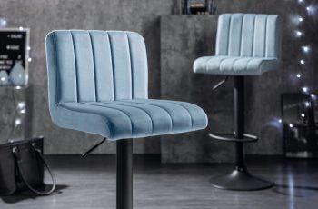 Barová stolička Portland 88-109cm svetlomodrá zamat