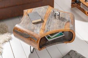 Konferenčný stolík Organic Living 70cm sheesham sivá