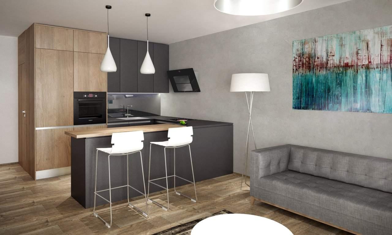 vizualizacia sivej kuchyne s drevom a barovym pultom