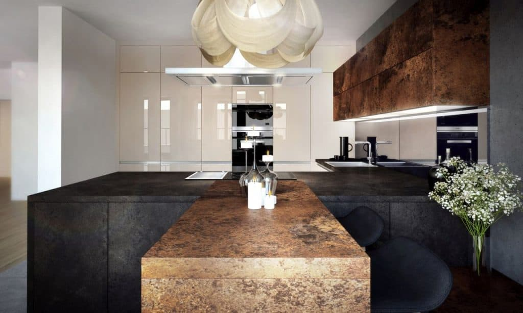 luxusná kuchyne s dekorom ferro bronze