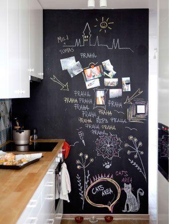 cierna tabulova farba na stene v kuchyni