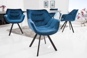 Modrá zamatová stolička Dutch Comfort