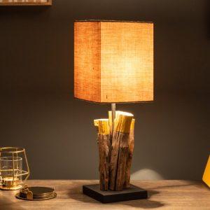 Stolová lampa PureNature 45cm zlatá železoholz