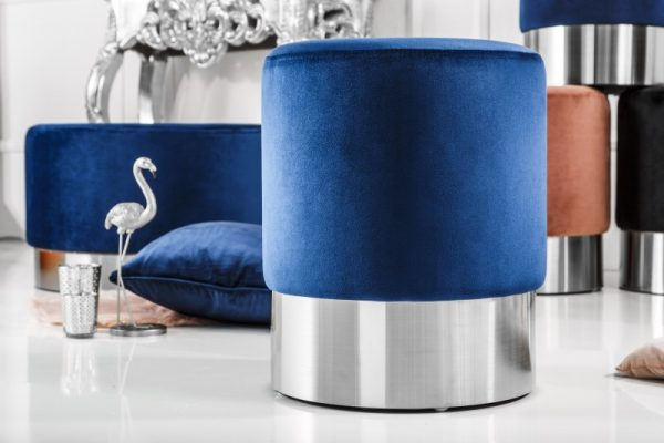 Taburet Modern Barock 35cm blau strieborná