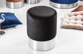 Taburet Modern Barock 35cm čierna strieborná