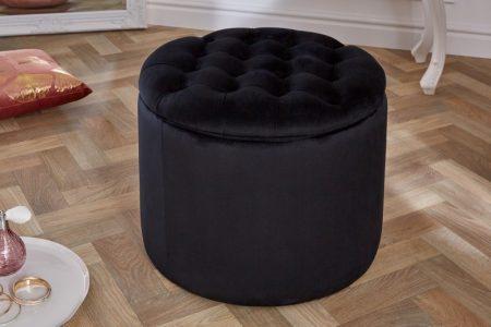 Taburet Modern Barock 50cm čierna zamat