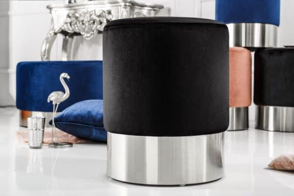 Čierno-strieborný taburet Modern Barock 35cm »