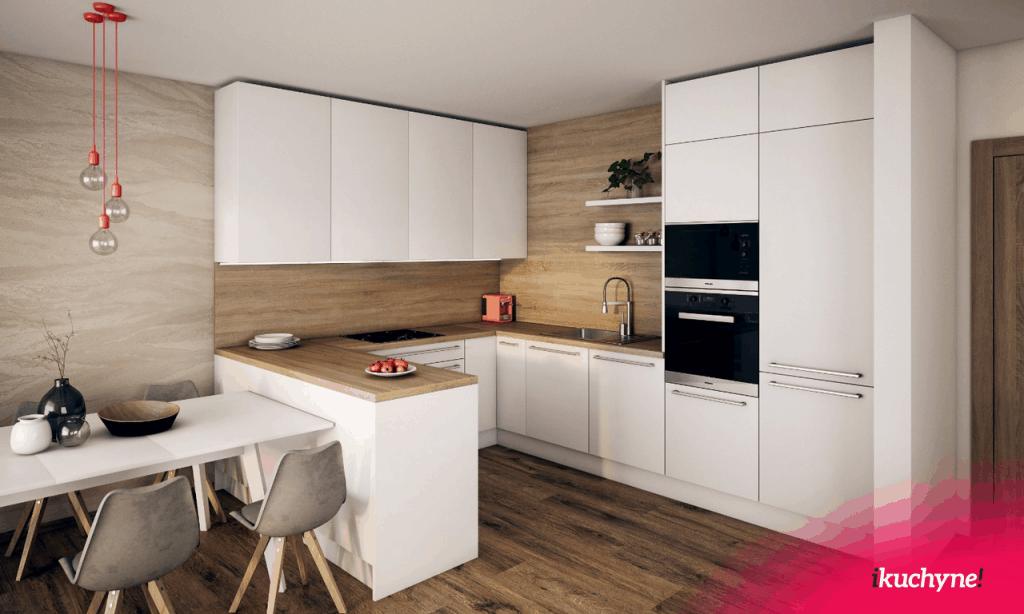 biela kuchyna s drevom v tvare U