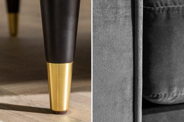 Sivá zamatová sedačka Cozy Velvet 225cm