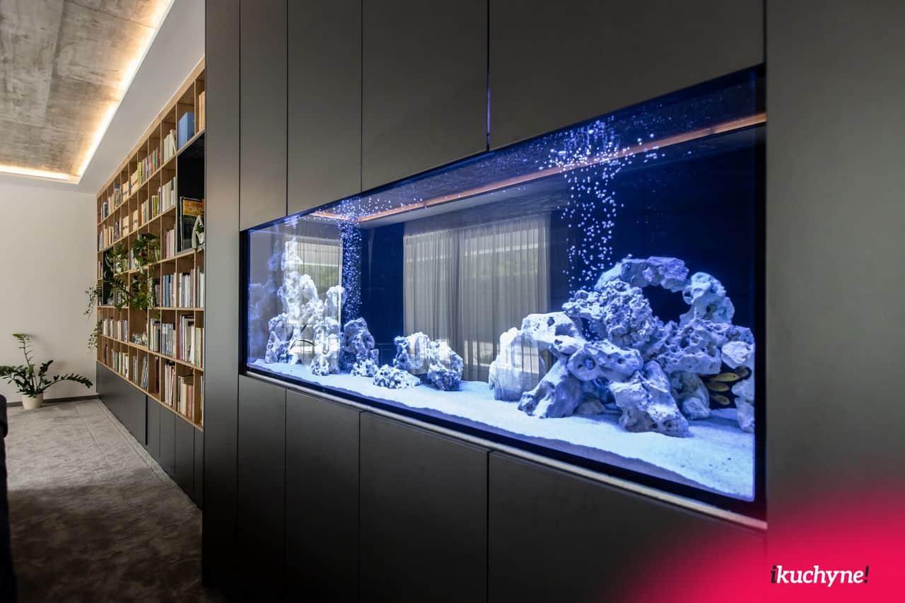 vstavane akvarium v antracitovej obyvacke od ikuchyne