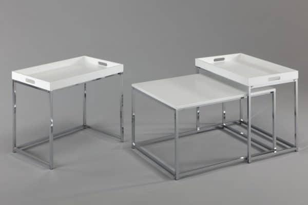 Konferenčný stolík Elements set 3ks biela stolík (podnos)