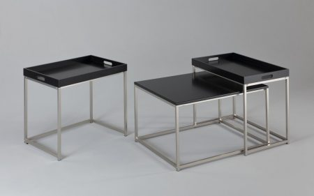 Konferenčný stolík Elements set 3ks čierna stolík (podnos)