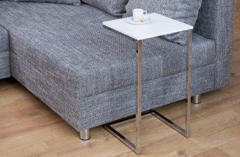 Konferenčný stolík Simply 60cm biela strieborná