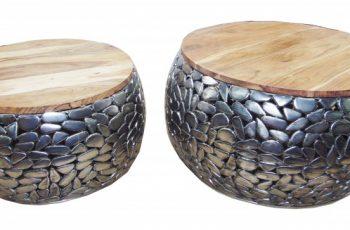 Konferenčný stolík Stone Mosaic set 2ks strieborná Mango