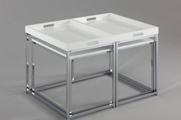 Biely konferenčný stolík Elements set 3ks - podnosy