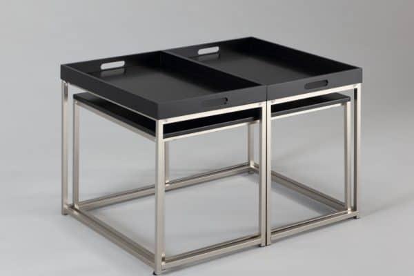 Čierny konferenčný stolík Elements set 3ks - podnosy