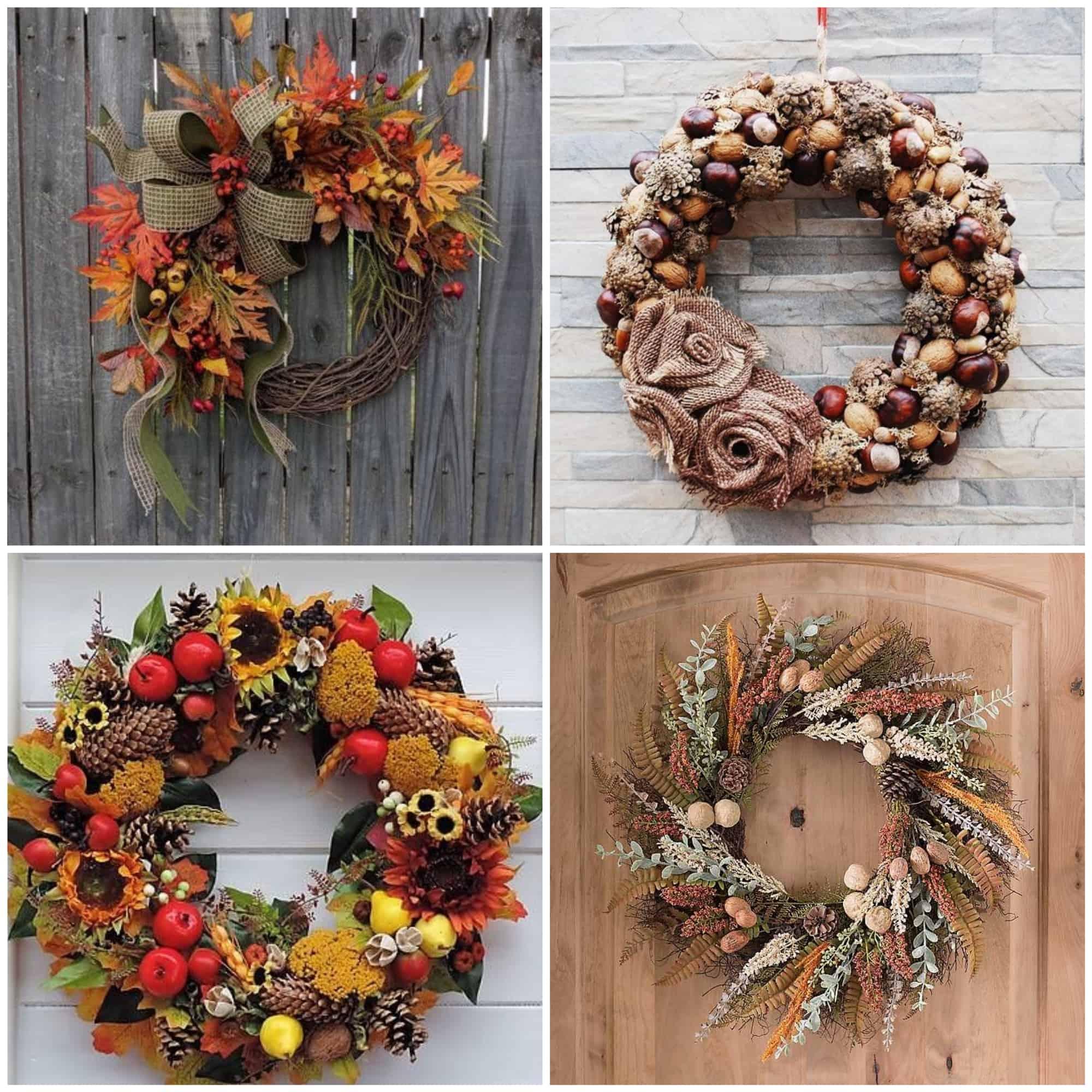 jesenné ozdobné vence na dverách