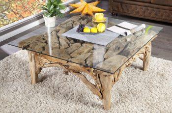 Konferenčný stolík z naplaveného dreva 100cm - sklenený plát