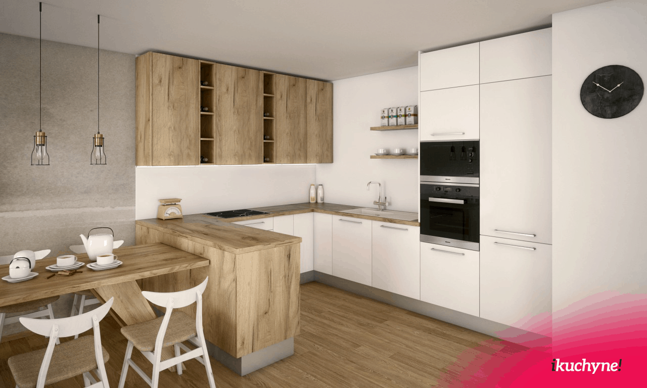 Vizualizácia kuchynskej linky s drevom v tvare u